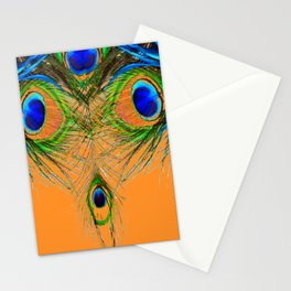 ORANGE BLUE-GREEN PEACOCK FEATHERS ART Stationery Cards