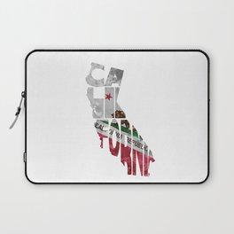 California Typographic Flag Map Art Laptop Sleeve