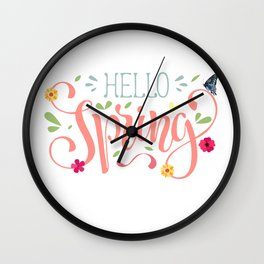 Hello Spring Flowers Wall Clock