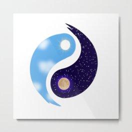 Night and Day Yin Yang Opposites Design Metal Print
