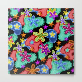 Colorful Retro Flowers Fractalius Pattern Metal Print