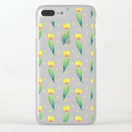 Modern yellow green watercolor tulips polka dots pattern Clear iPhone Case