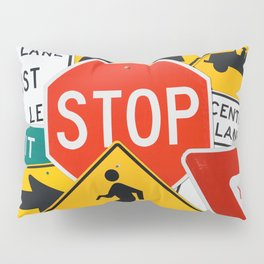 Road Traffic Sign Collage Pillow Sham