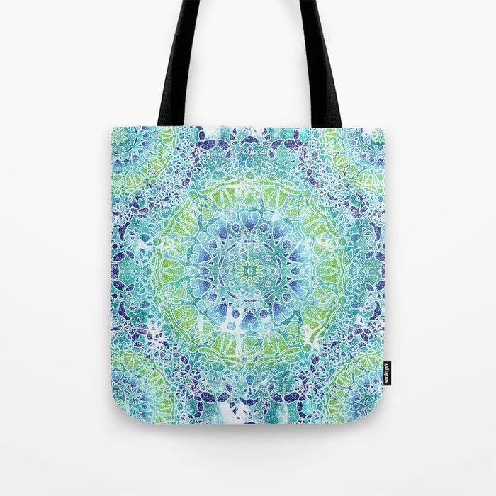 Blue Greenery Tie-Dye Mandala Tote Bag