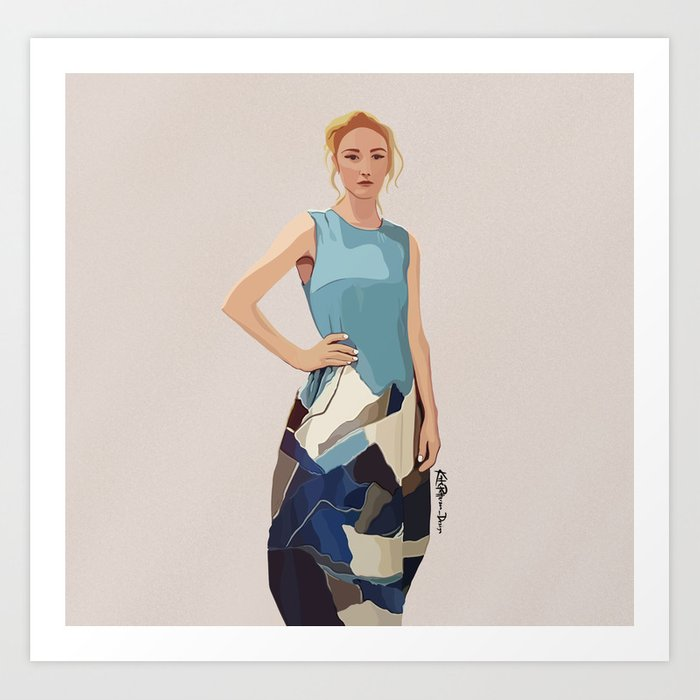 Daniels denim dress Art Print