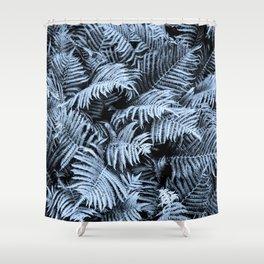 Fern | Sapphire | Deep Blue Botanical Art Shower Curtain