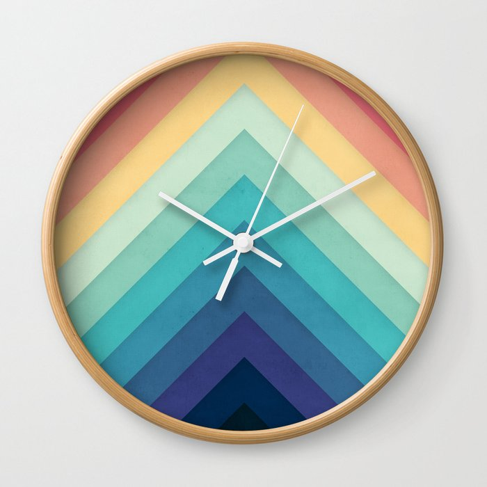 Retro Chevrons 002 Wall Clock