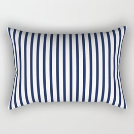 Navy Blue Vertical Stripes Rectangular Pillow
