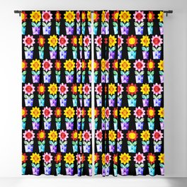 Colorful Faceted Potted Flowers Blackout Curtain