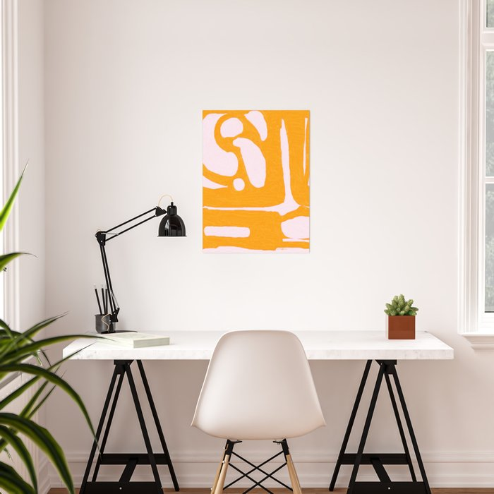 Abstract in Yellow and Cream Poster