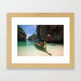 Hong island boat Framed Art Print