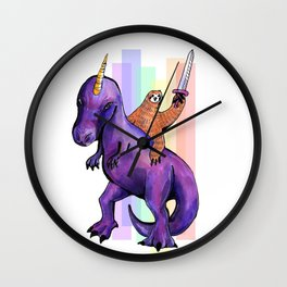 sloth dinosaur unicorn Wall Clock