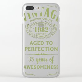Green-Vintage-Limited-1982-Edition---35th-Birthday-Gift Clear iPhone Case