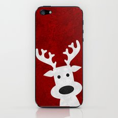 Christmas reindeer red marble iPhone & iPod Skin