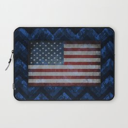Cobalt Blue Digital Camo Chevrons with American Flag Laptop Sleeve