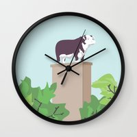 kansas city Wall Clocks featuring Kansas City Cow by greetingsfromKC