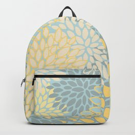 Floral Prints, Soft Yellow and Teal, Modern Print Art Backpack