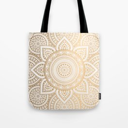 Gold Mandala Pattern Illustration With White Shimmer Tote Bag
