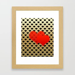 Two red hearts in tandem on black hearts pattern Framed Art Print