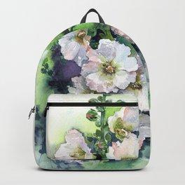 Watercolor Hollyhocks white flowers Backpack