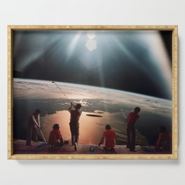 Golfers In Space Serving Tray