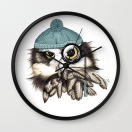 Owl eyeglass and cap Wall Clock