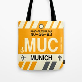 MUC Munich • Airport Code and Vintage Baggage Tag Design Tote Bag