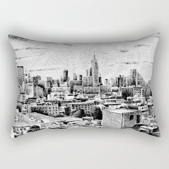 New York City - Fingerprint - Black ink Rectangular Pillow