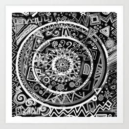The B&W Wheel Art Print