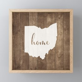 Ohio is Home - White on Wood Framed Mini Art Print