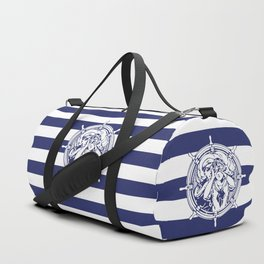 Sail Away With Me | Sailing Couple | Nautical | Blue and White Stripes | Duffle Bag