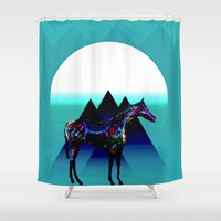 pony Shower Curtains featuring Painted Pony by Laura Santeler