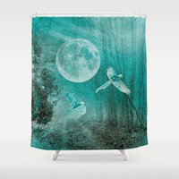 valentina Shower Curtains featuring FOREST DREAMING by Catspaws