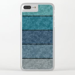 Blue and gray marble striped pattern . Clear iPhone Case