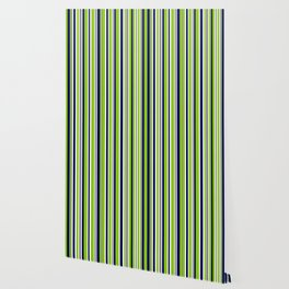 Lime Green Bright Navy Blue Gray and White Vertical Stripes Pattern Wallpaper