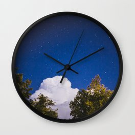 Sweet Dreams - Big White Cloud - Night Sky Stars Night Photography Wall Clock