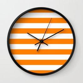 Horizontal Stripes (Orange/White) Wall Clock