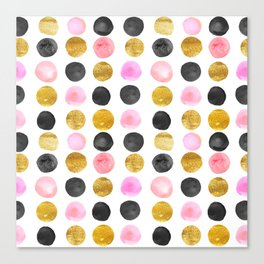 Pink and gold watercolor rounds  Canvas Print