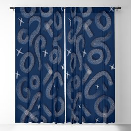 Navy Squiggles and Shine Blackout Curtain
