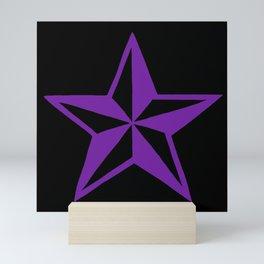 Purple Tattoo Style Star on Black Mini Art Print