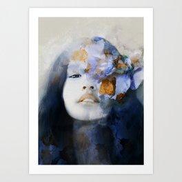 blue portrait (woman with flower) Art Print