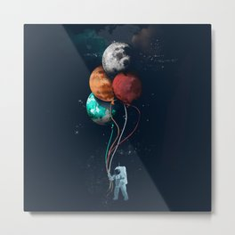 Astronauts and Planet Balloon Metal Print