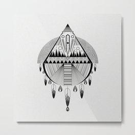 Geometrical black and white dreamcatcher Metal Print