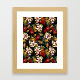 Japanese Floral Pattern Framed Art Print