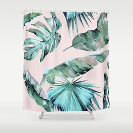 Tropical Palm Leaves Turquoise Green Coral Pink Shower Curtain