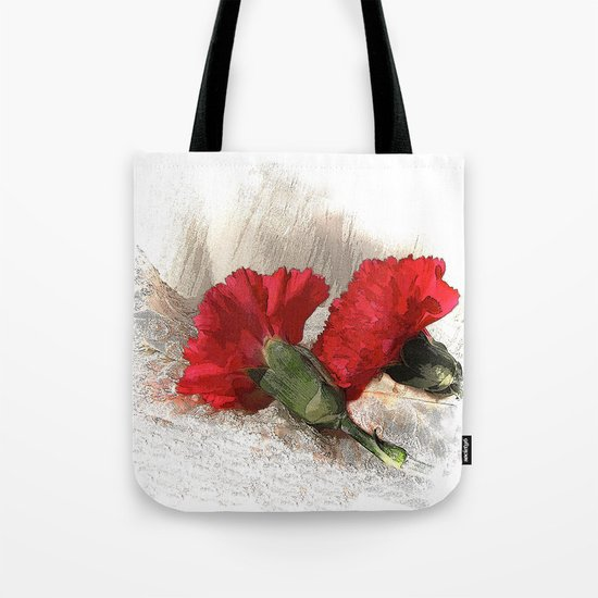 Red Carnations on Brocade Tote Bag