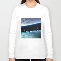 skiing Long Sleeve T-shirts featuring Skiing by Cs025