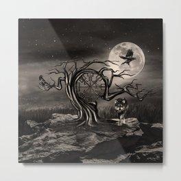 Vegvisir Tree Moon landscape - sepia Metal Print