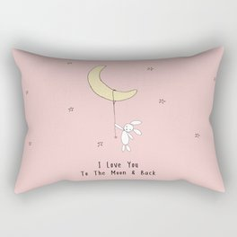 I Love You To The Moon And Back - Pink Rectangular Pillow