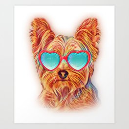 Yorkshire Terrier Colorful Yorkie Neon Dog Sunglasses Art Print
